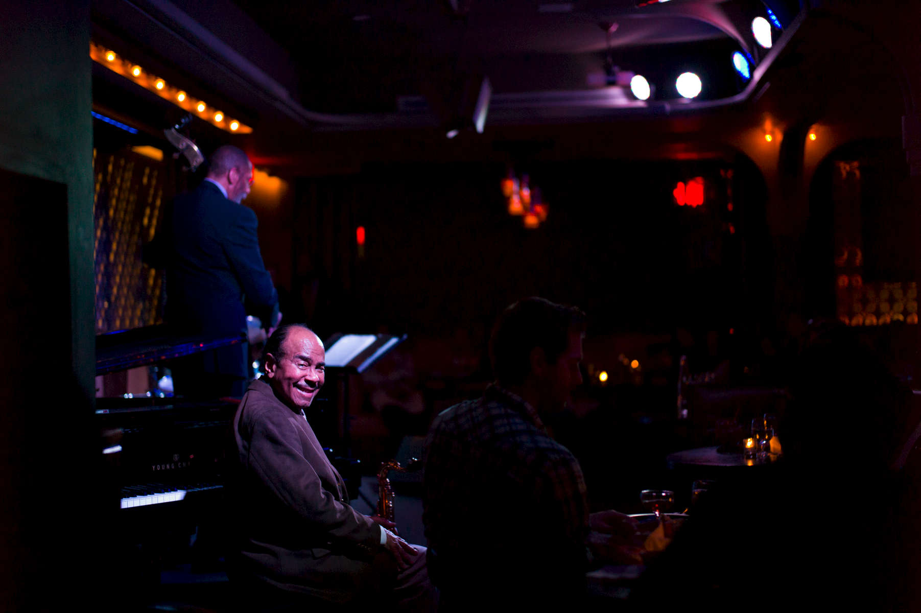 Jazz great and composer Benny Golson and Ron Carter perform at Ginny's Supper Club in Harlem. The club is owned by chef Marques Samuelsson.