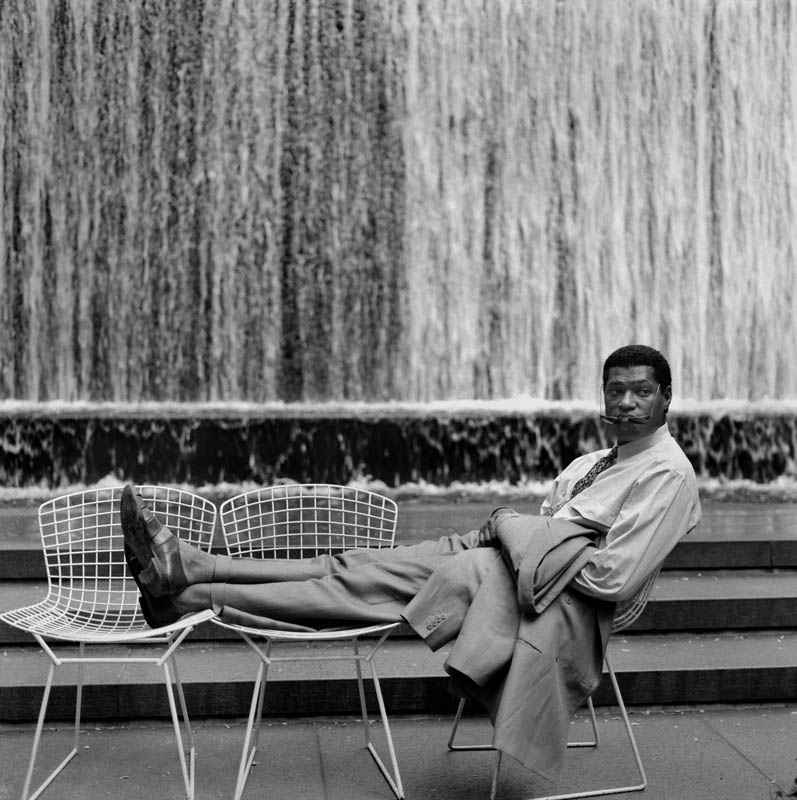 Actor Laurence Fishbourne relaxes in William Paley Park in Midtown Manhattan. Copyright The New York Times