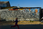 This is the historic Nelson Mandela home site.  Located just on the other side of this mural.  Mr. Mandela is now recognized as the founding father of South Arica. This the first place Mandela called home in greater Johannesburg after he left his birthplace, the Eastern Cape in the 1940s.