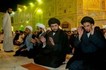 Najaf, Iraq - Muqtada al-Sadr (2nd from right) a Shite clerical leader who  has tremendous influence among the predominantly Shia Islamic community of Iraq,  prayers at  the Imam Ali Holy Shrine.  - Ozier Muhammad / NYT