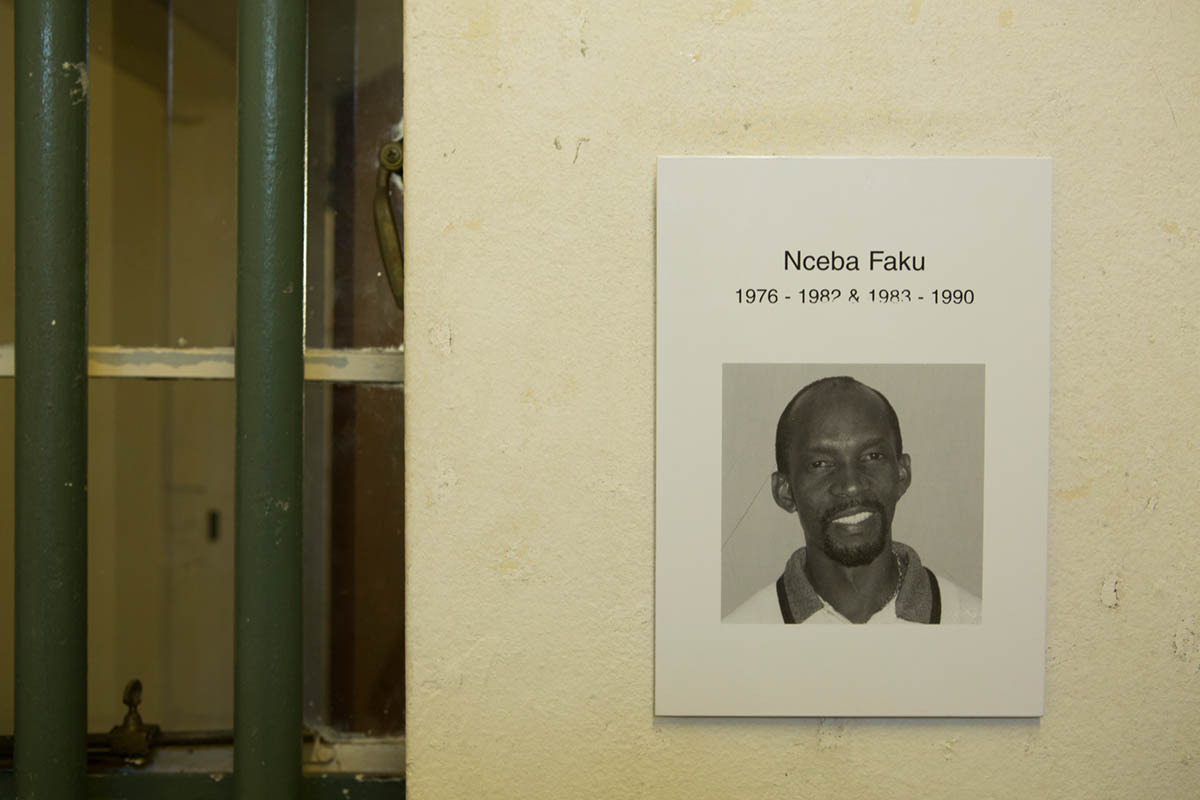 07-05-2013 - A photo of Nceba Faku, in one of the cells he occupied.  He served 2 terms here for sedition, from 1976 to 1982, and 1983 to 1990.