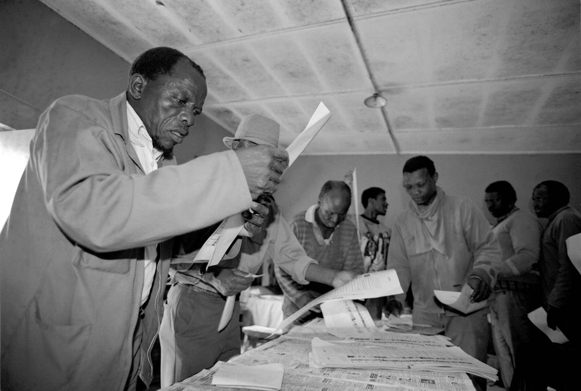 Blacks South Africans practice using voters ballot in the runup to the first non-racial election in the country's history.