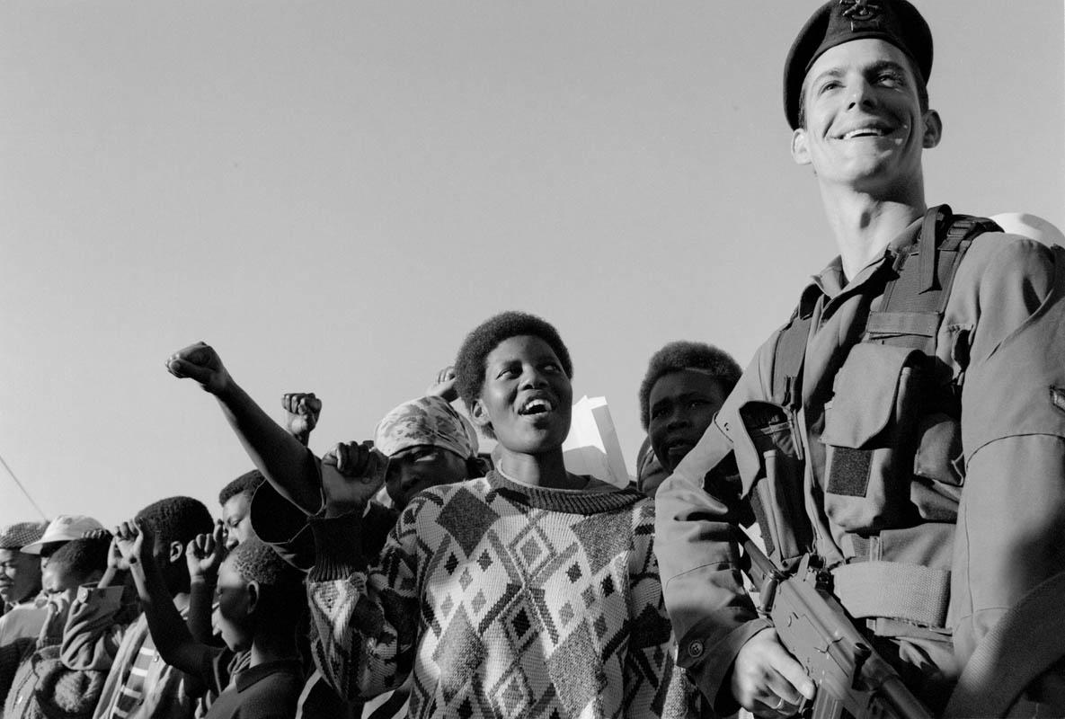 A scene from Mandela's inauguration in Pretoria.
