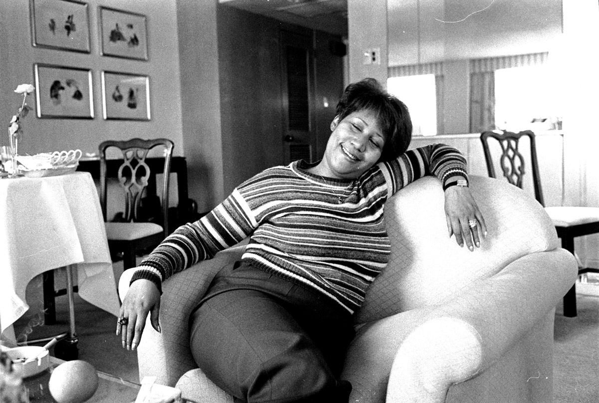 Washington, D.C. - Aretha Franklin, during an interview, several hours before a councert at the Kennedy Center.