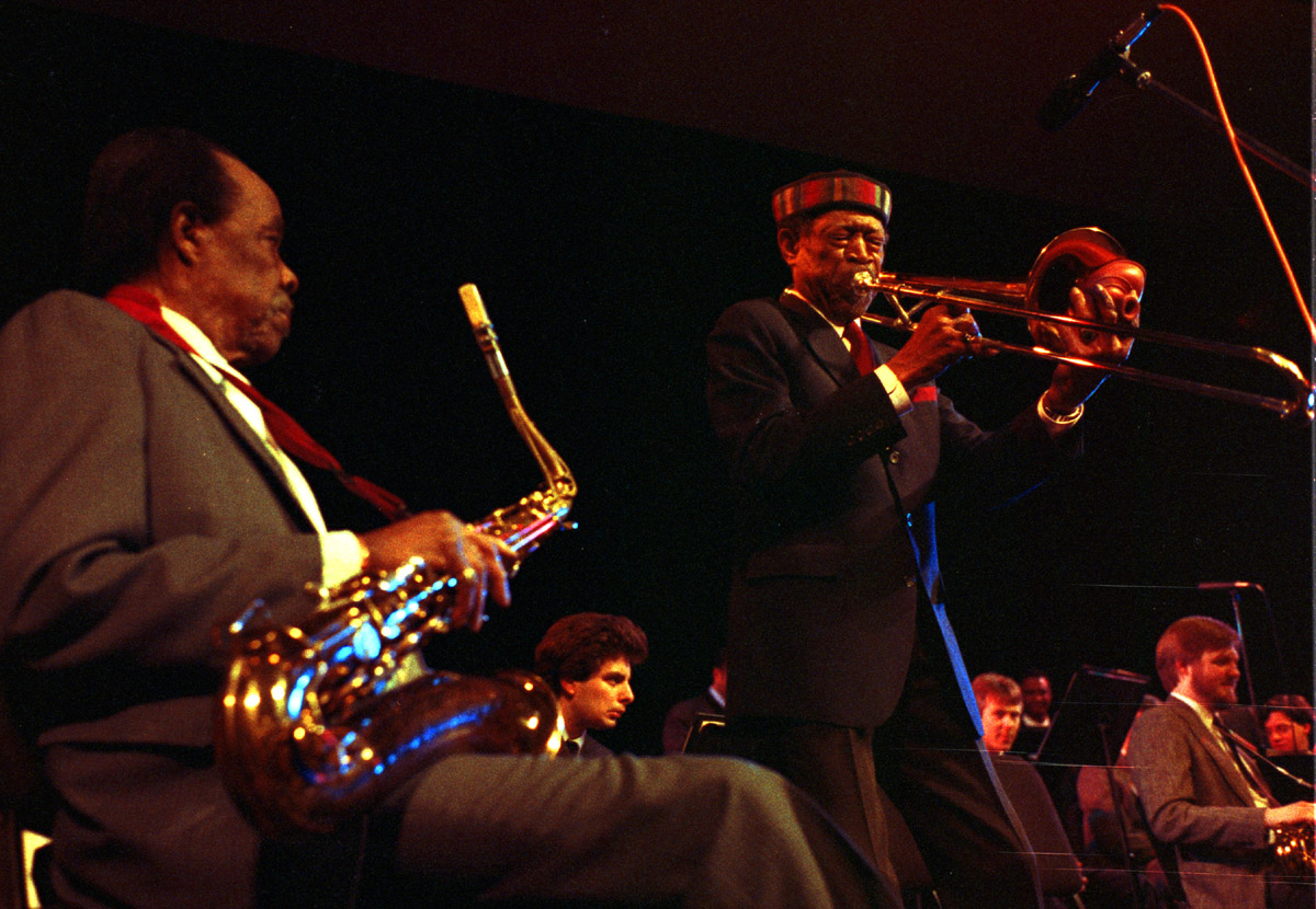 Tenor Saxphonist Buddy Tate, seated, and trombonist Al Grey performing at Liincoln Center, Circa, 1989.