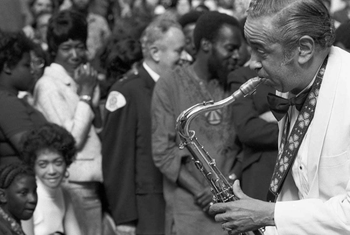 Chicago, IL Summer 1972  - Duke Ellington and his orchestra performed a free concert downtown near City Hall Plaza.. - Photo By Ozier Muhammad
