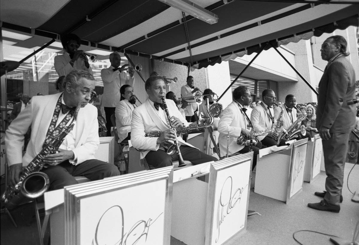 Chicago, IL Summer 1972  - Duke Ellington and his orchestra performed a free concert downtown near in City Hall Plaza.. - Photo By Ozier Muhammad