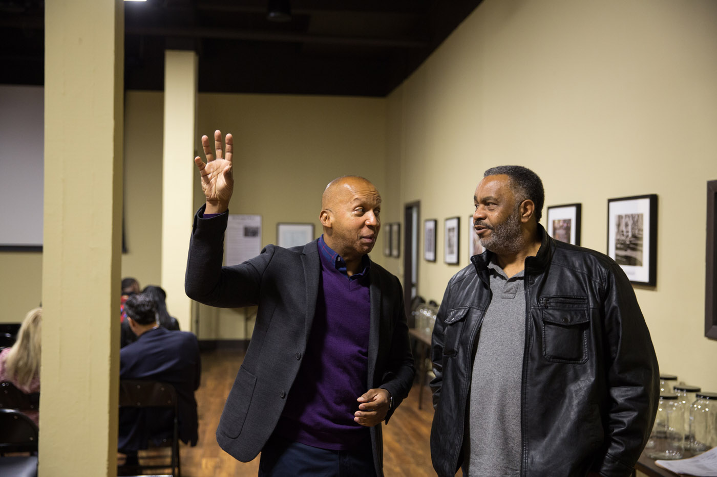 Montgomery, Ala - 02-12-16 - Left to right: Mr. Stevenson talking to Anthony Ray Hinton, Community Educator, was falsely accused of committing two murders outside of Birmingham, Alabama, in 1985. He was wrongly convicted and spent nearly 30 years on Alabama's death row before he was exonerated and freed in April 2015, with the help of EJI. - Credit Photo by Ozier Muhammad