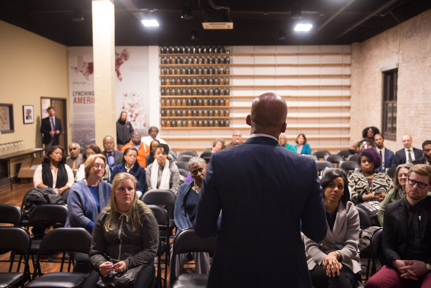 Montgomery, Ala - 02-12-16 -Mr. Stevenson talks to an audience of supports and volunteers. - Credit Photo by Ozier Muhammad