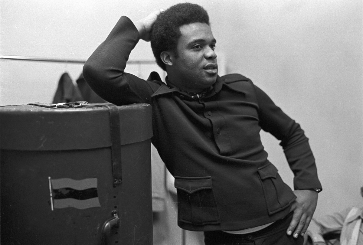 Jazz trompeter Freddie Hubbard, backstage at the Village Vanguard before playing a set. Circa, 1976
