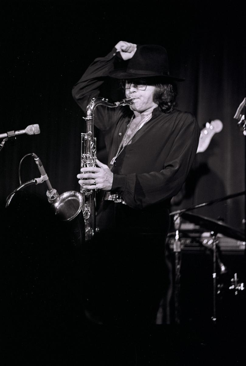 Argentine tenor sax great Gato (The Cat) Barbieri, as he appeared at Ratso's Jazz Club in Chicago. Barbieri's music score for the Bernardo Bertolucci's Last Tango In Paris (1973), starred Marlon Brando.