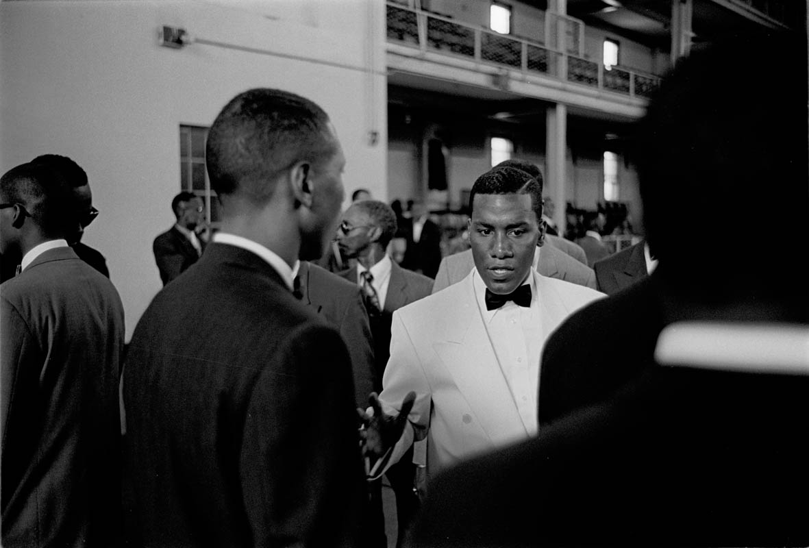 September, 1993 - Minister Conrad Muhammad of Temple #7 Nation Of Islam speaks to officers in his security corps before an event at the Harlem Armory.