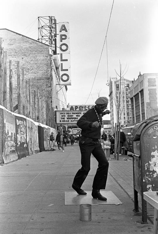 May, 1993 - This fellow calls himself {quote}Dancing Harry.{quote} He can usually be found near the world famous Apollo Theater making his moves on a slick board to the sounds of Soul Brother #1 James Brown.