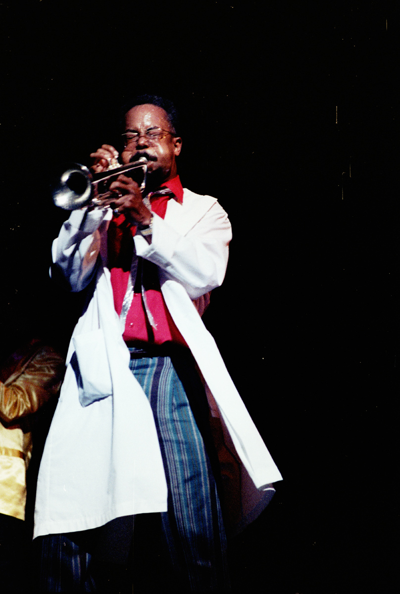 Jazz trumpeter Lester Bowie performing with the Brass Fantasy, at the Brooklyn Academy of Music. Circa, 1989.