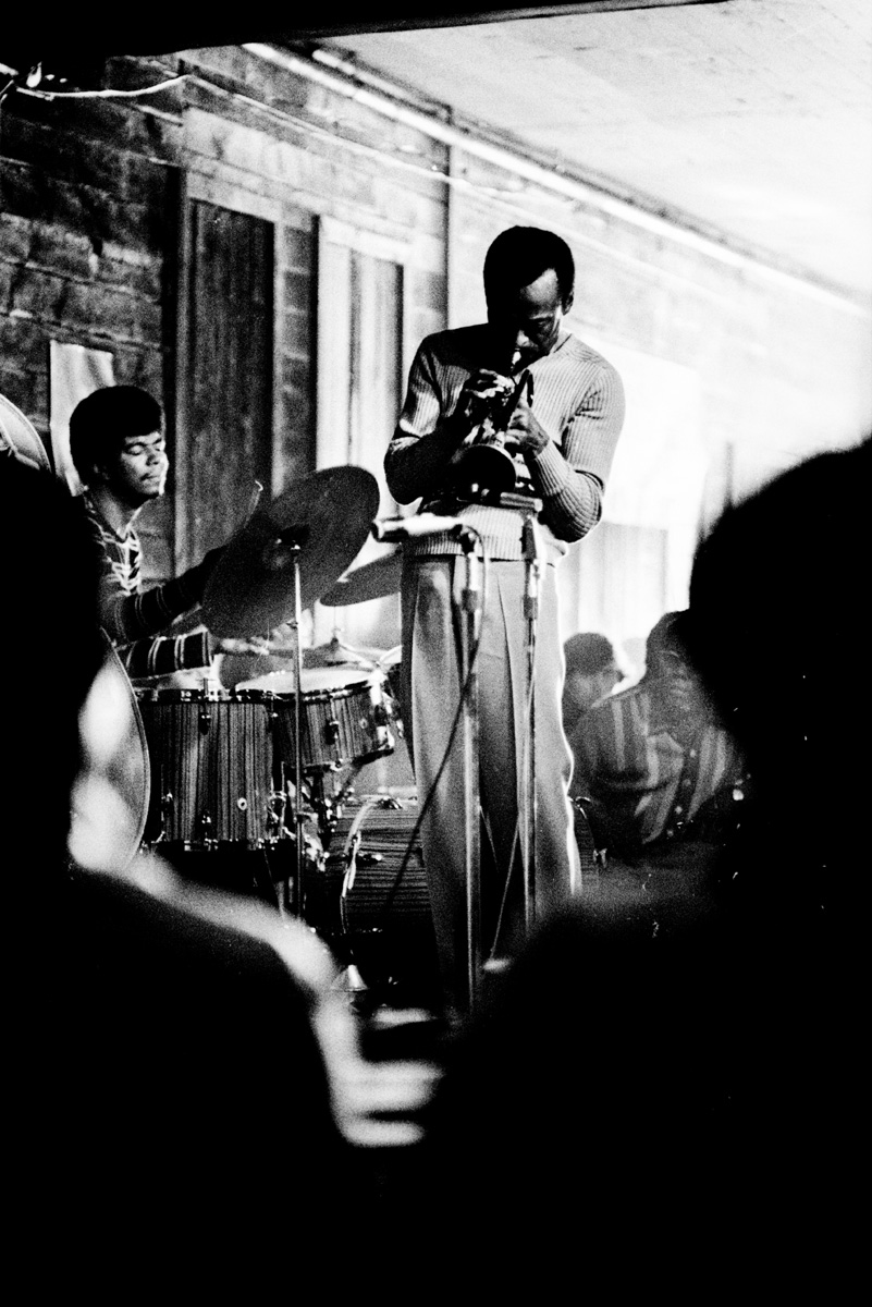 Jazz trumpeter and legend Miles Davis performed at the Plugged Nickel, with bassist Dave Holland, drummer Jack DeJohnette (seen here), and Chick Corea. Circa, 1968.