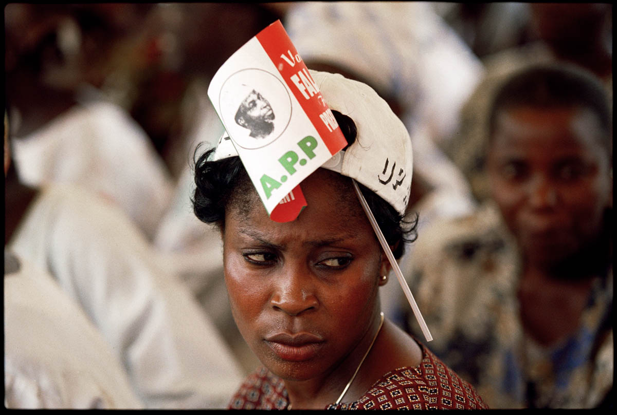 1999 - A supporter of Olu Falae, a candidate for president who represents the African Peoples Party, at a rally in s football stadium.