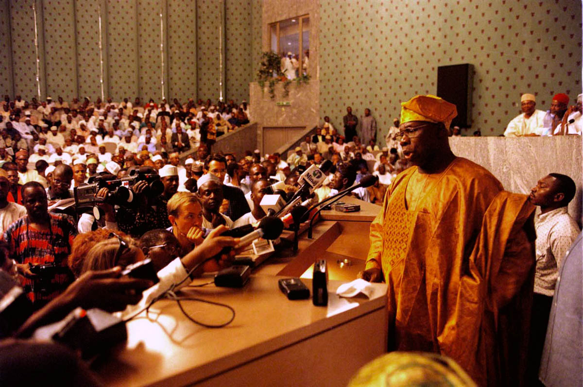 Mr. Olusegun Obasanjo addresses the nation after winning the presidential electon in Nigeria.