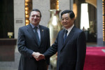 Jose' Manuel Barrosso , president of the European Commission and China's president Hu Jintao meet at the  State Guest House in Shanghai.