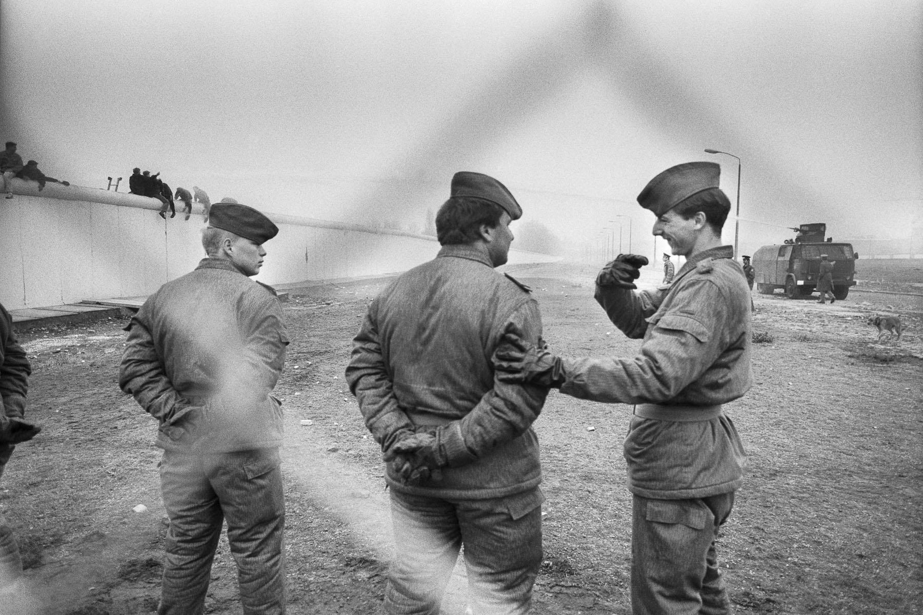 East German soldiers next to Potzdamer Platz on November 11, 1989