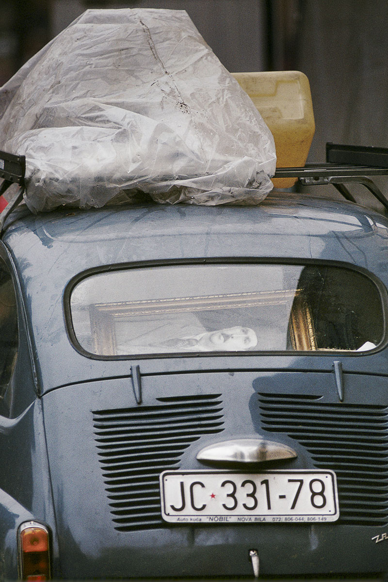 Bosnian refugees' car after the capture of their village by the Serb militiamen in November 1992