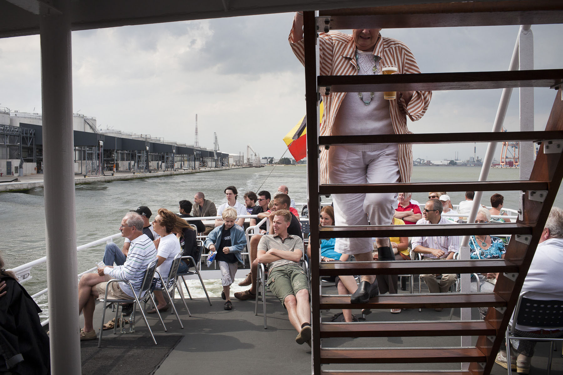 On the Scheldt river aboard the river boat The Flandria in July 2010