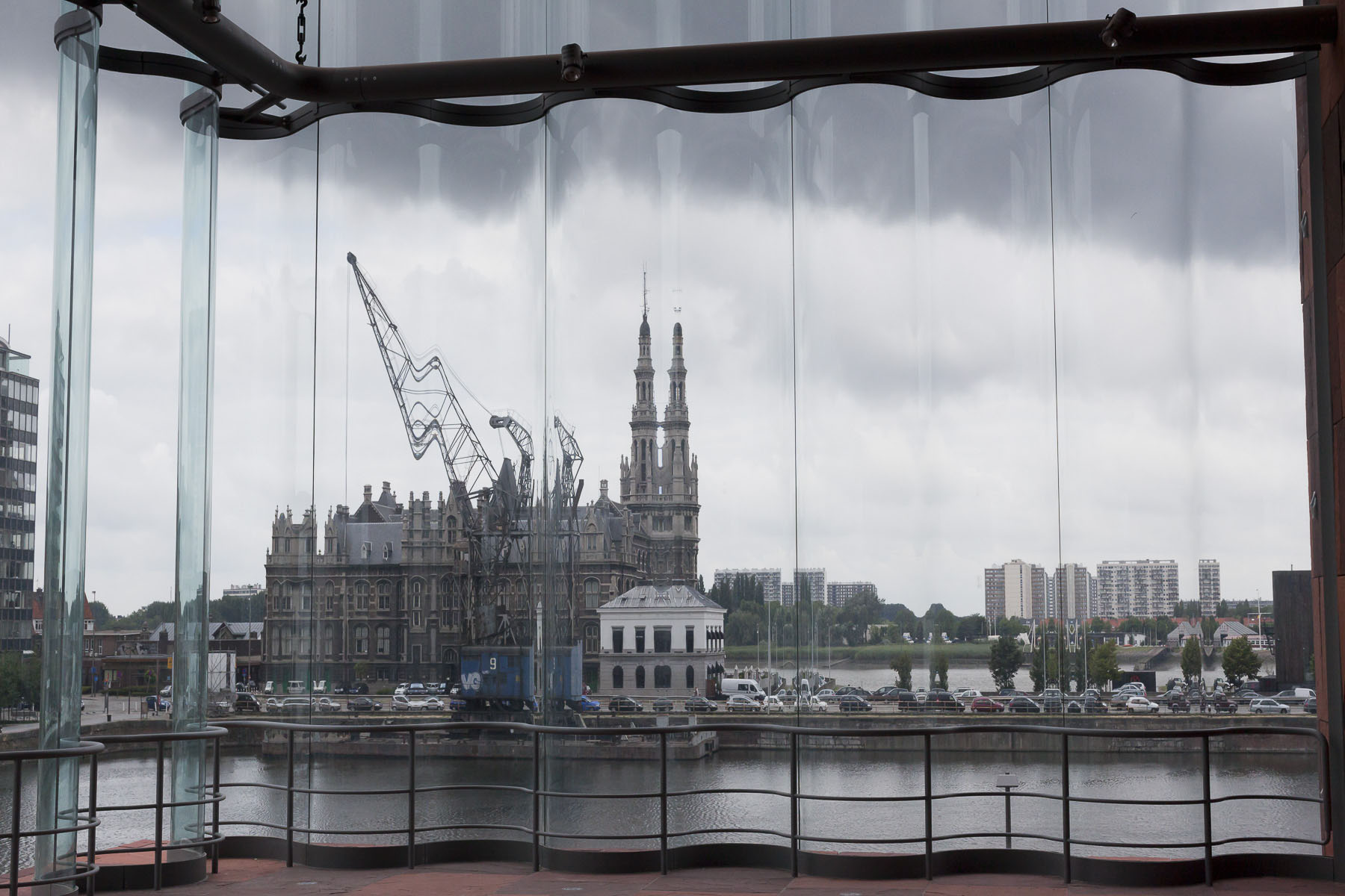 The Pilot House on the Bonaparte quay seen from the Old Antwerp museum in July 2010