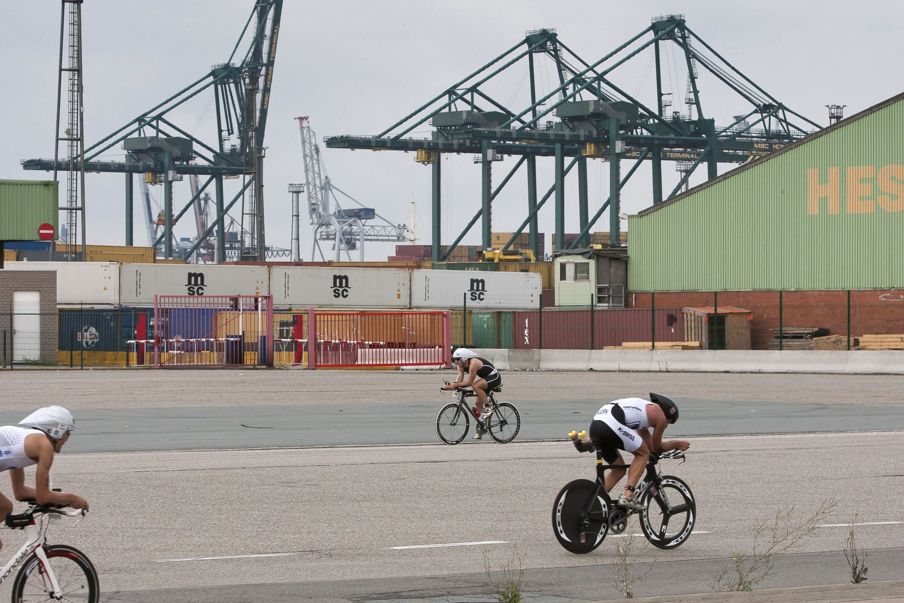 Bike race on the docks on the left bank of the Scheldt river in  July 2010