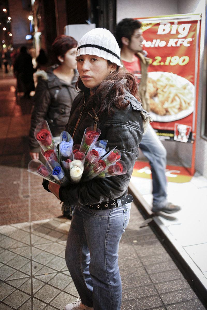 A flower seller near the Plaza de Armas in September 2007