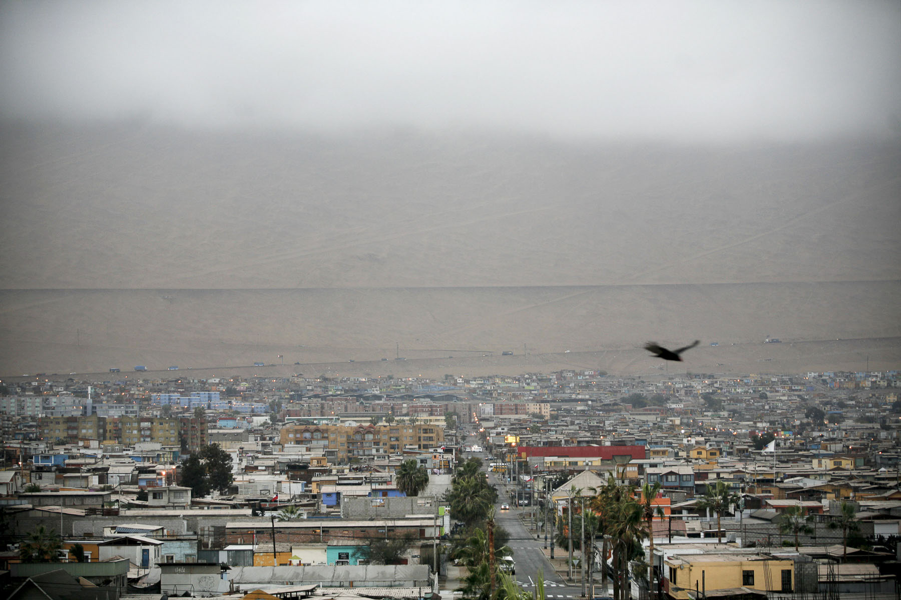 The city in the mist of the Pacific ocean in September 2007