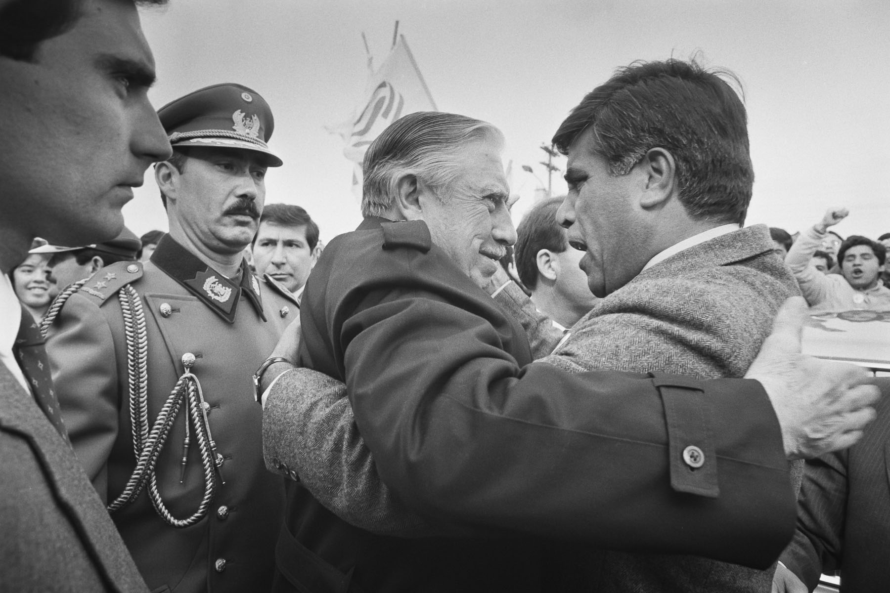 Augusto Pinochet at SI rally during plebiscite Yes/No vote campaign in September 1988