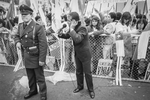 Radio reporter at SI rally during plebiscite Yes/No vote campaign in September 1988
