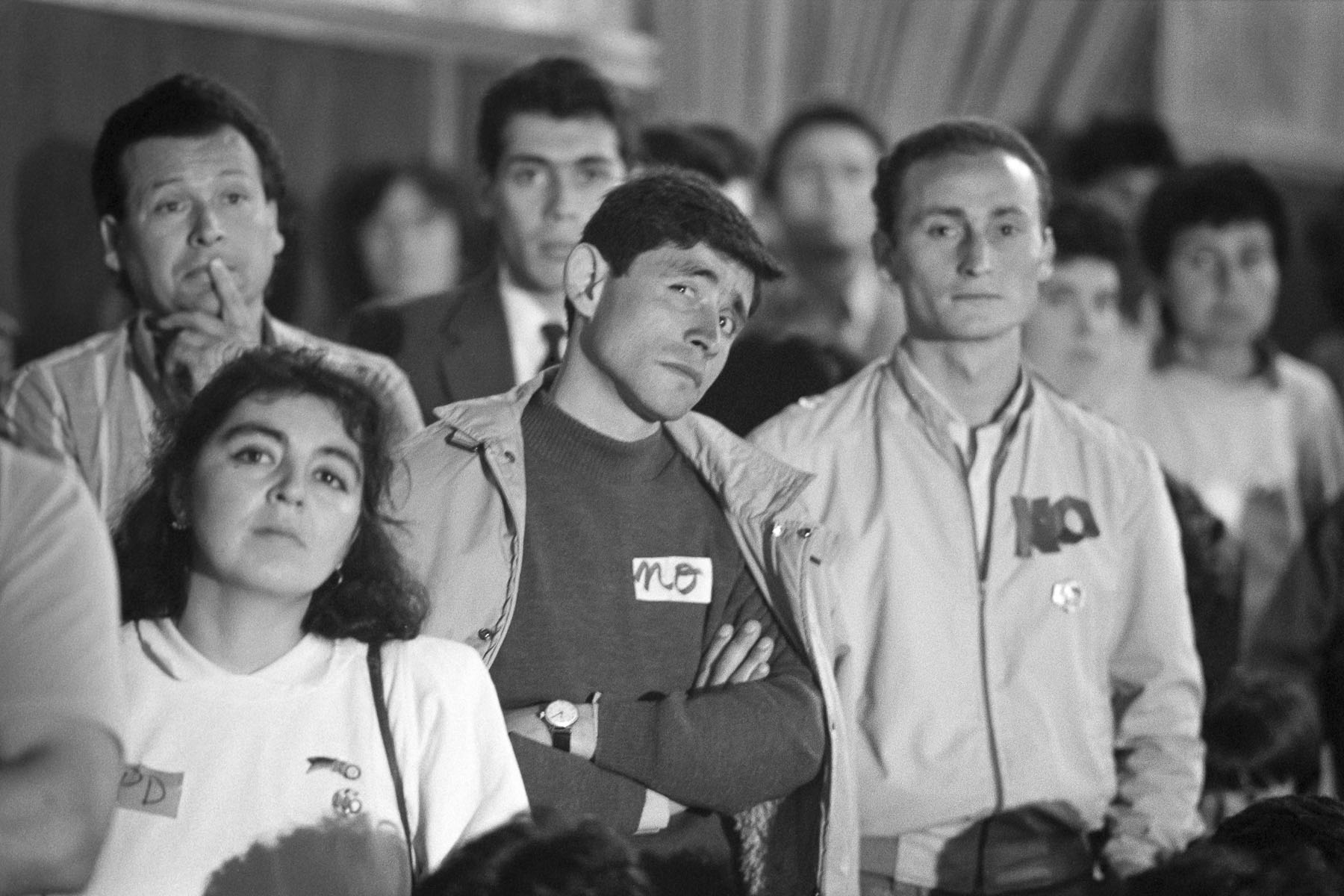 Augusto Pinochet opponents at NO rally during plebiscite Yes/No vote campaign in September 1988