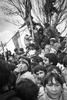 Crowd celebrating NO vote against Augusto Pinoshet during plebiscite campaign in October 1988