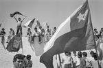 Crowd celebrating plebiscite NO vote victory defeating Augusto Pinochet in October 1988