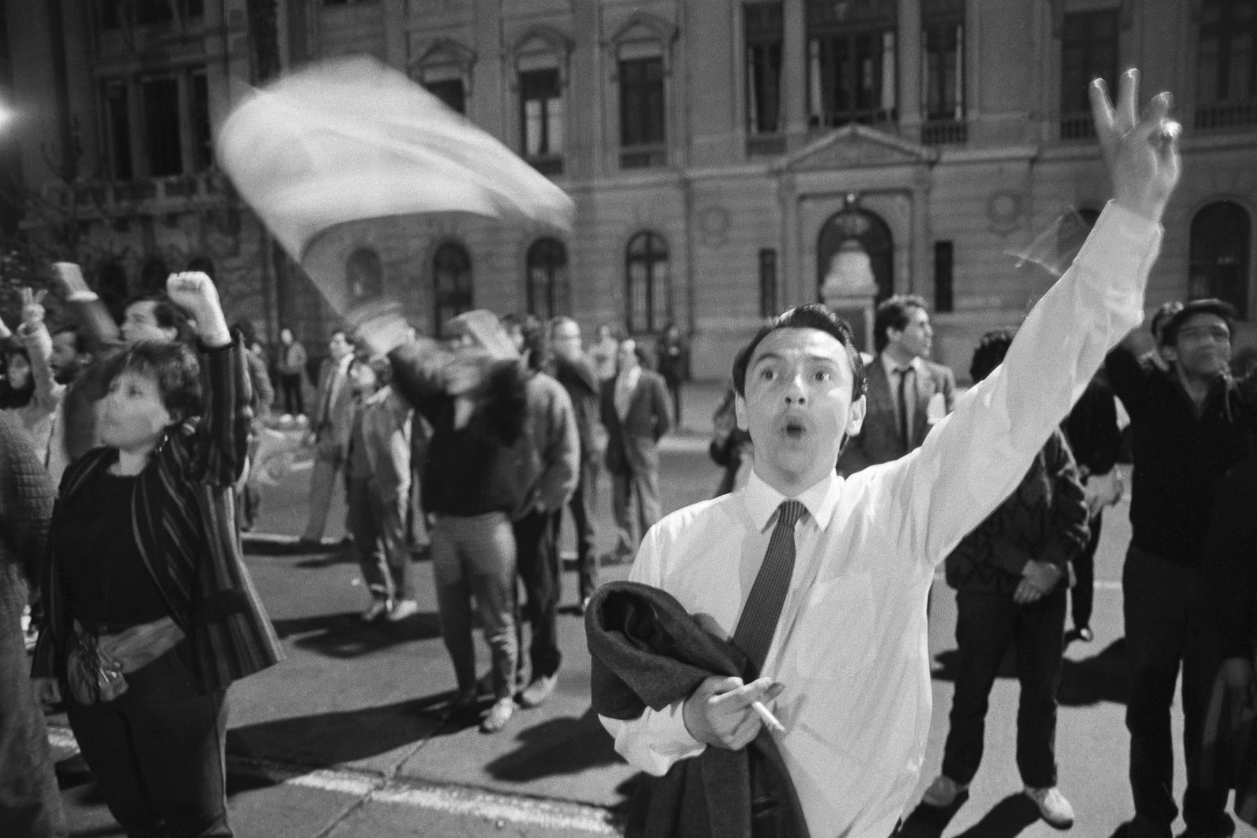 A man celebrates plebiscite NO vote victory defeating Augusto Pinochet on October 5, 1988