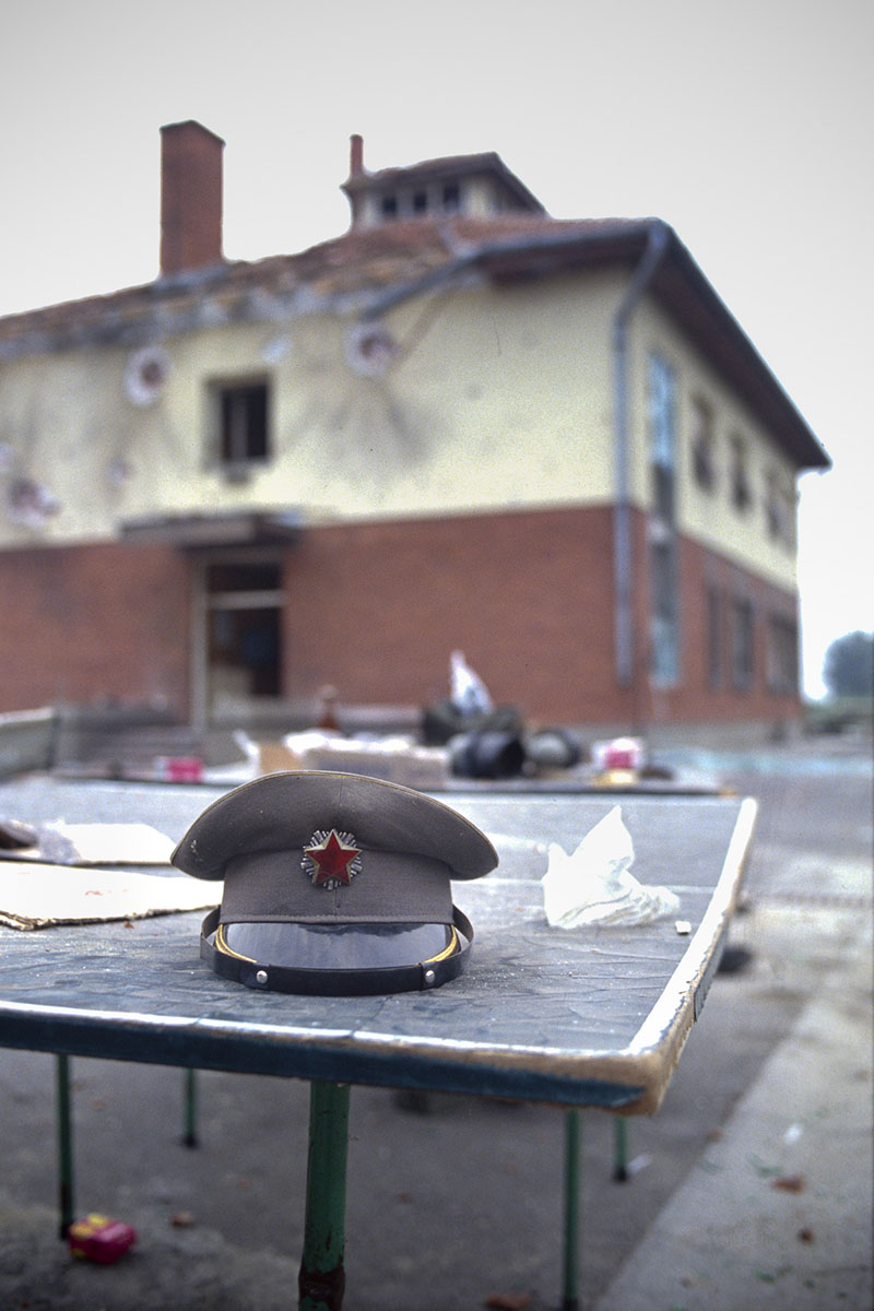 Yugoslav federal army barracks after a Croatian militias' attack in September 1991