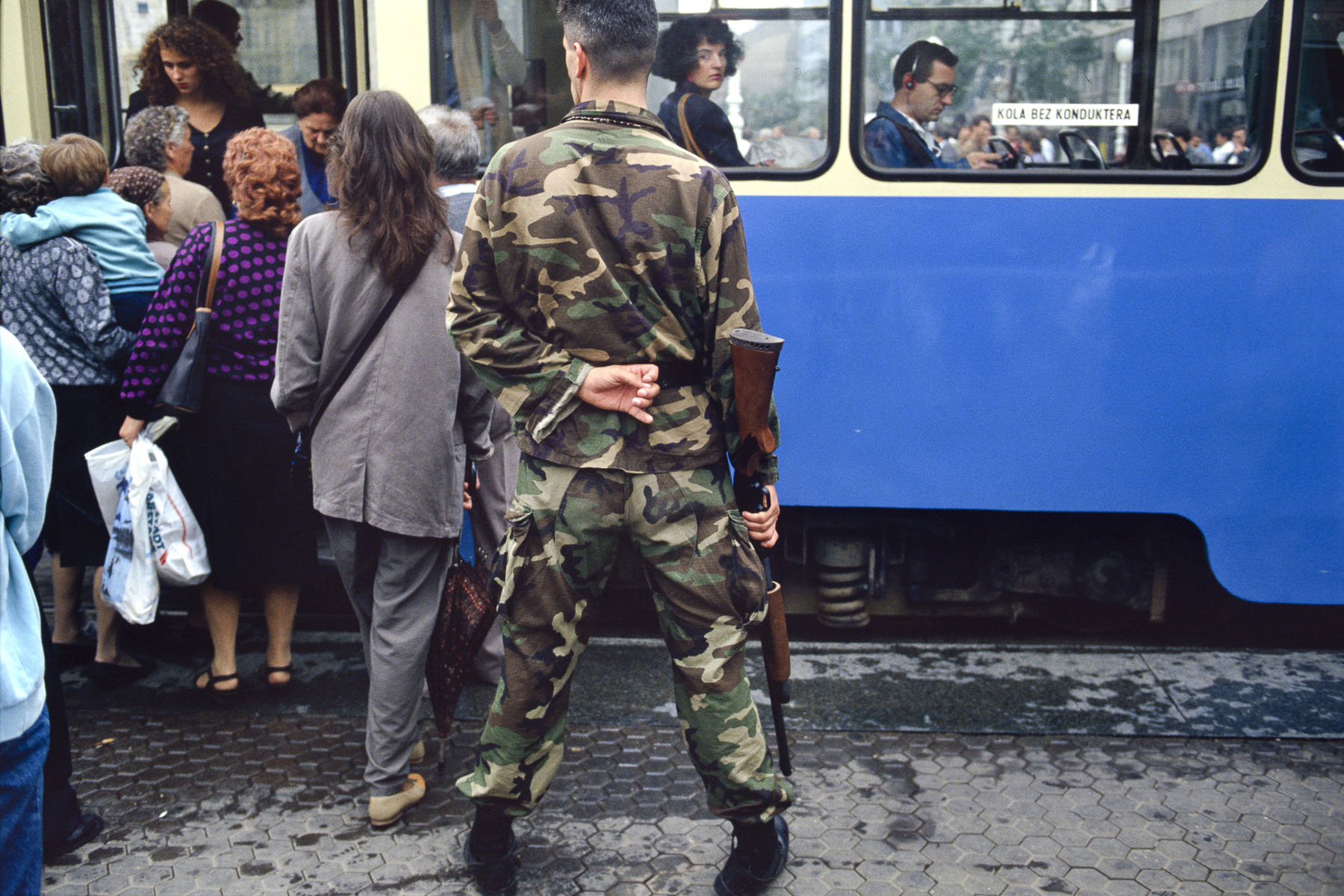 A Croatian militiaman in the center of Zagreb in September 1991