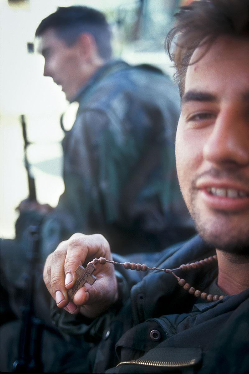 Croatian militiaman on the frontline in September 1991