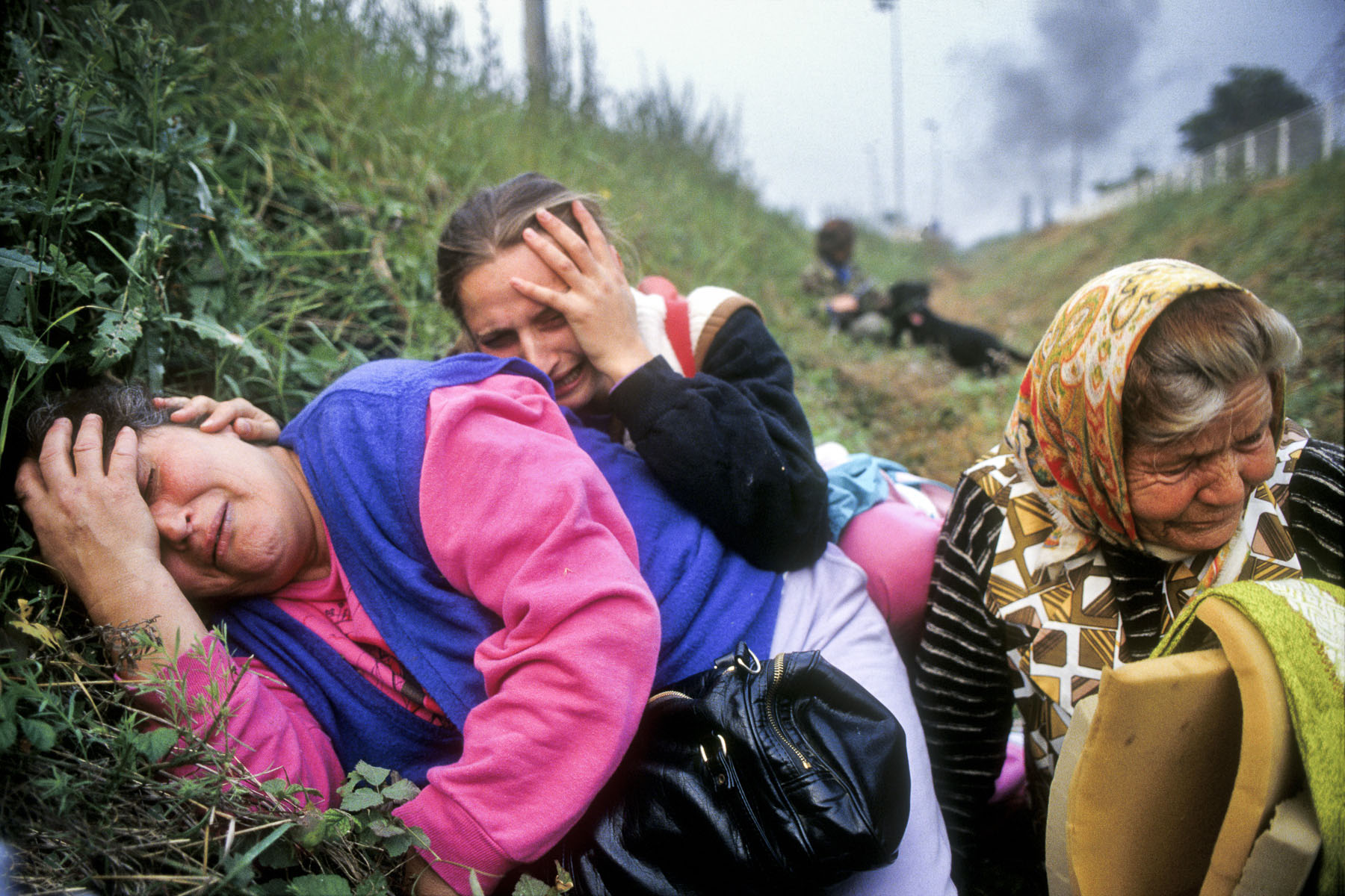 Croatian women under a bombing attack from the Yugoslav federal army in September 1991