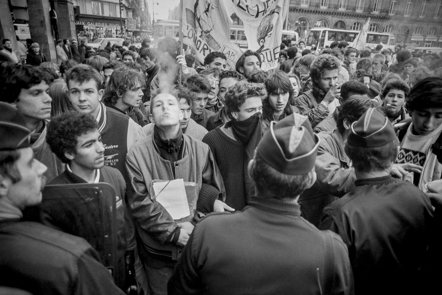 Students demonstration against Devaquet minister reform draft in the Quartier Latin on november 1986