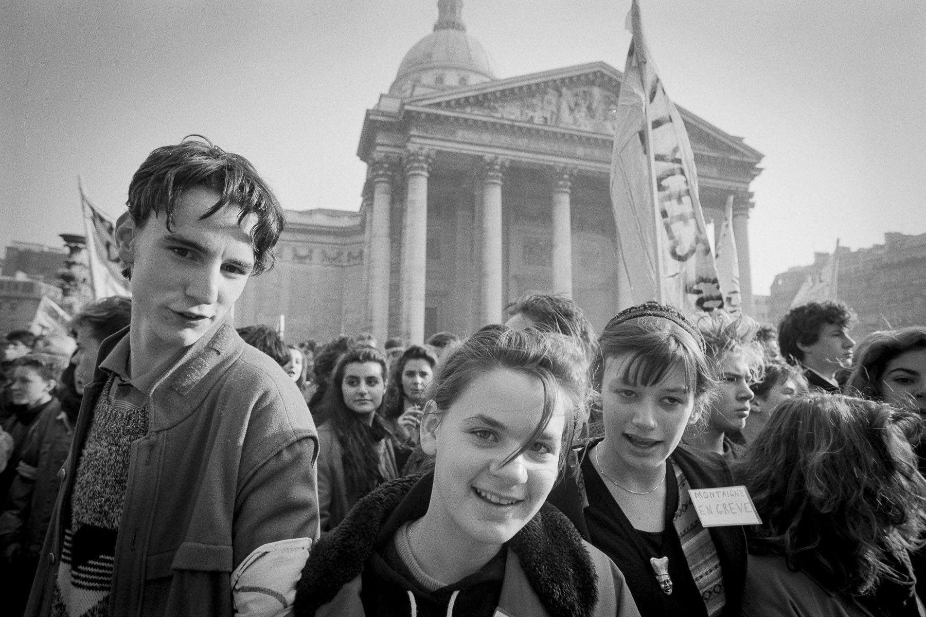 High school students demonstration against Devaquet minister reform draft in the Quartier Latin on november 1986