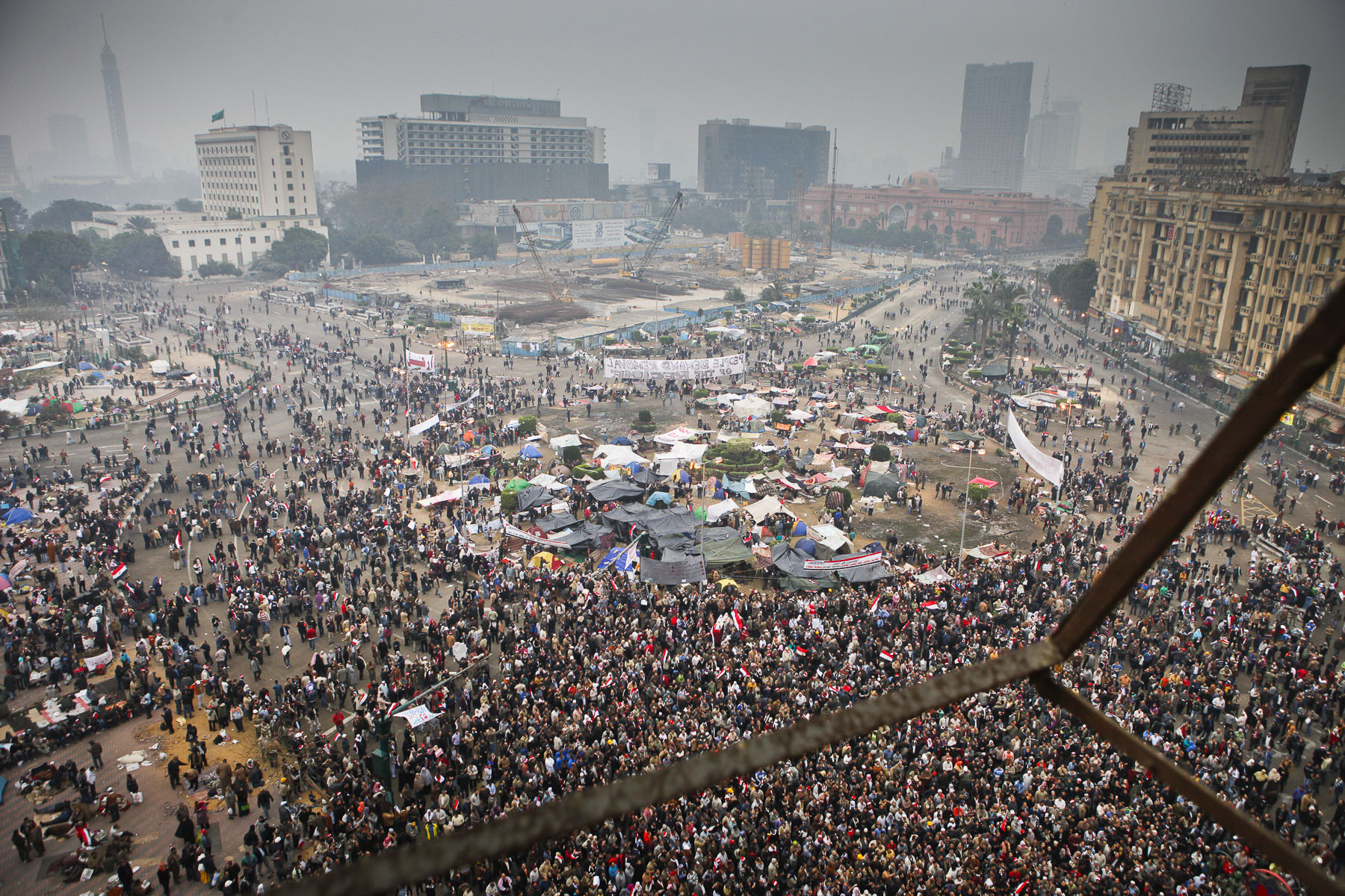 Demonstrators protest against President Mubarak's regime on Tahrir Square on Saturday February 5 2011