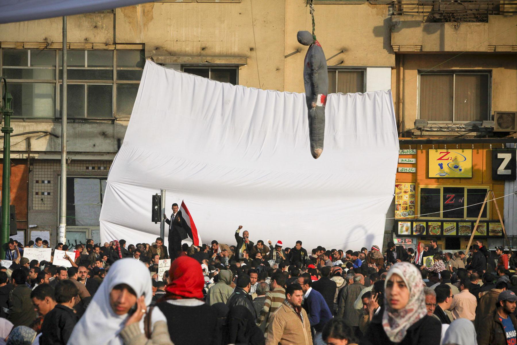 Demonstrators protest against President Mubarak's regime on Tahrir Square on Wednesday February 2 2011