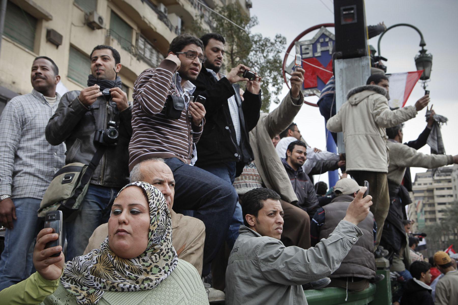 Demonstrators protest against President Mubarak's regime on Tahrir Square on Sunday February 6 2011