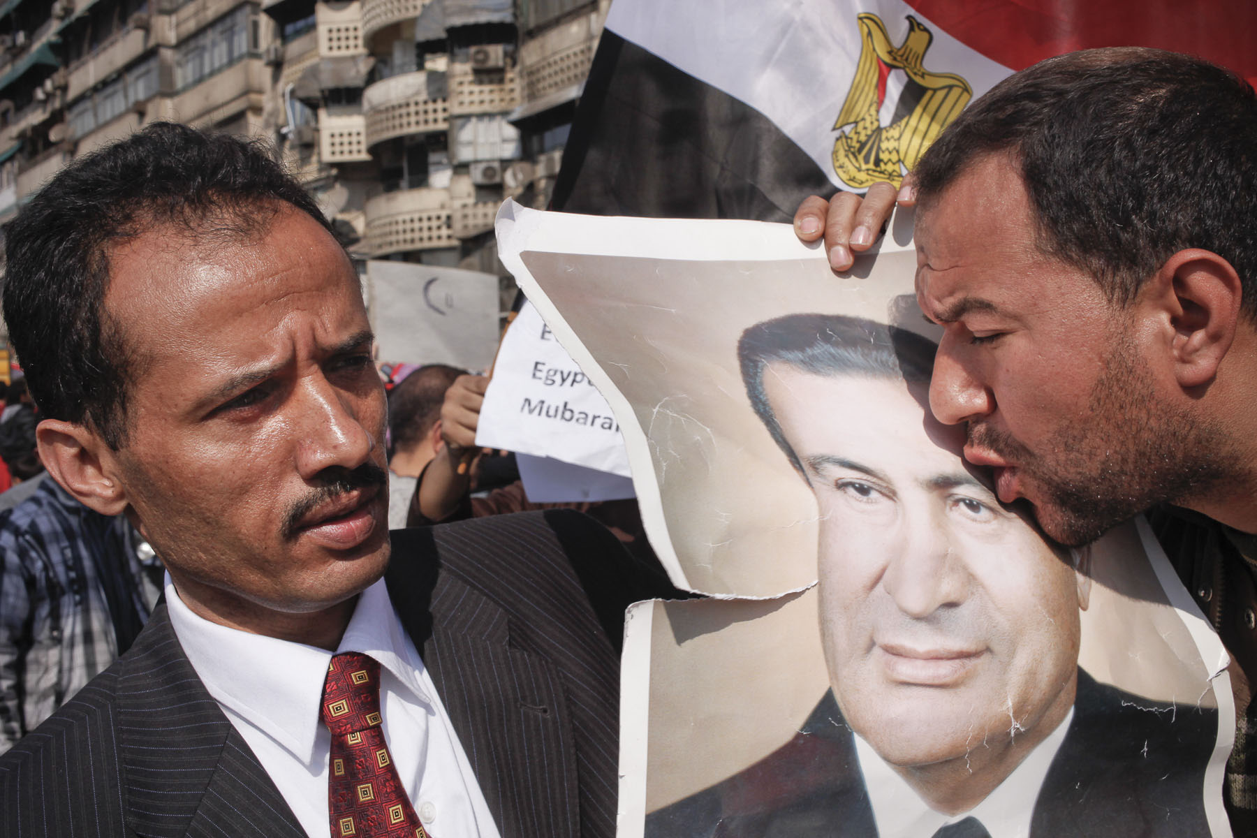 President Mubarak's supporters demonstrate near Tahrir Square on Wednesday February 2 2011