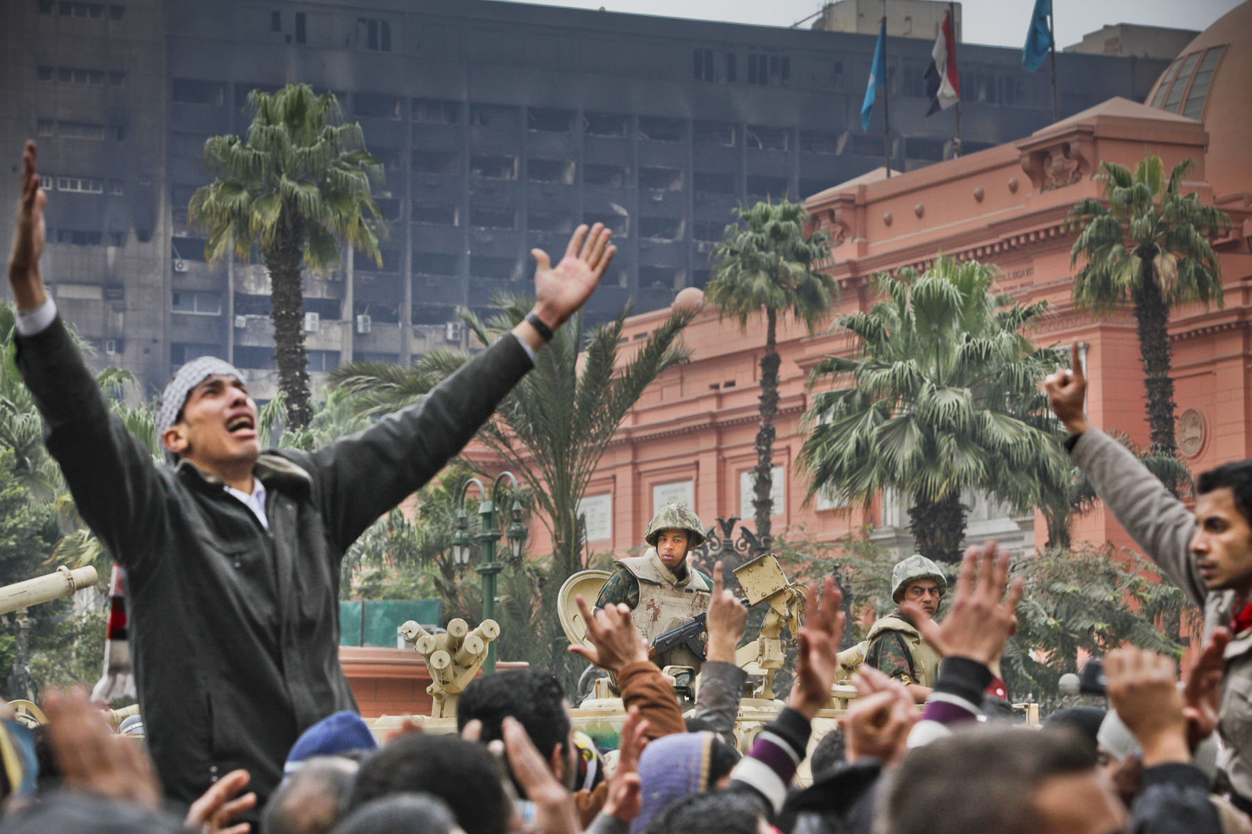 Egyptian demonstrators protest against President Mubarak's regime on Tahrir Square on Saturday February 5 2011