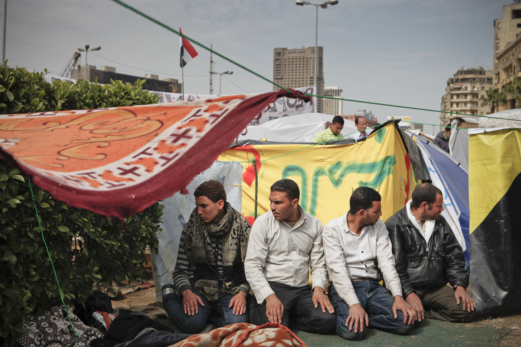 Anti-President Mubarak's demonstrators pray on Tahrir Square on Saturday February 5 2011