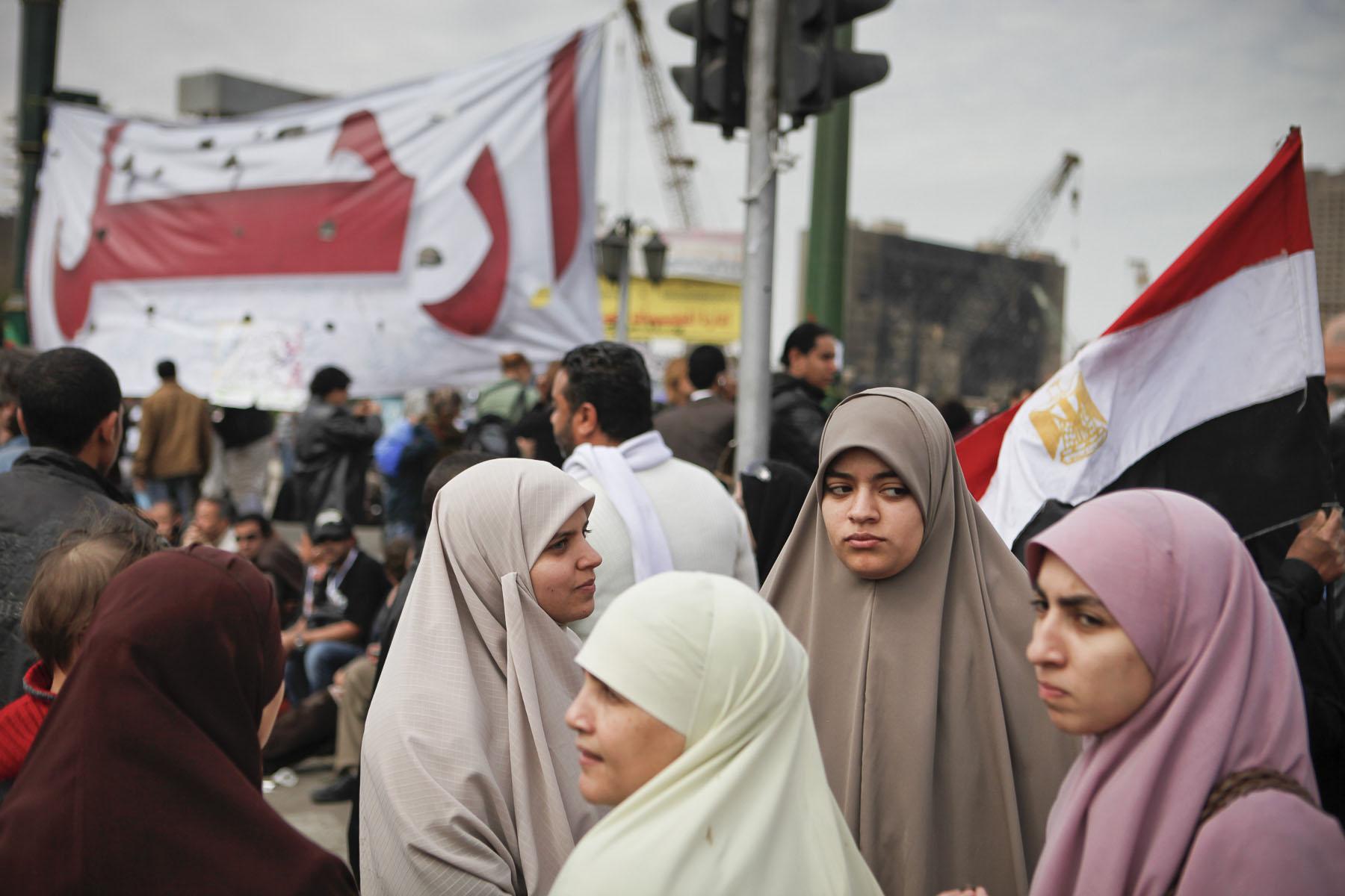 Anti-President Mubarak's women demonstrate on Tahrir Square on Sunday February 6 2011