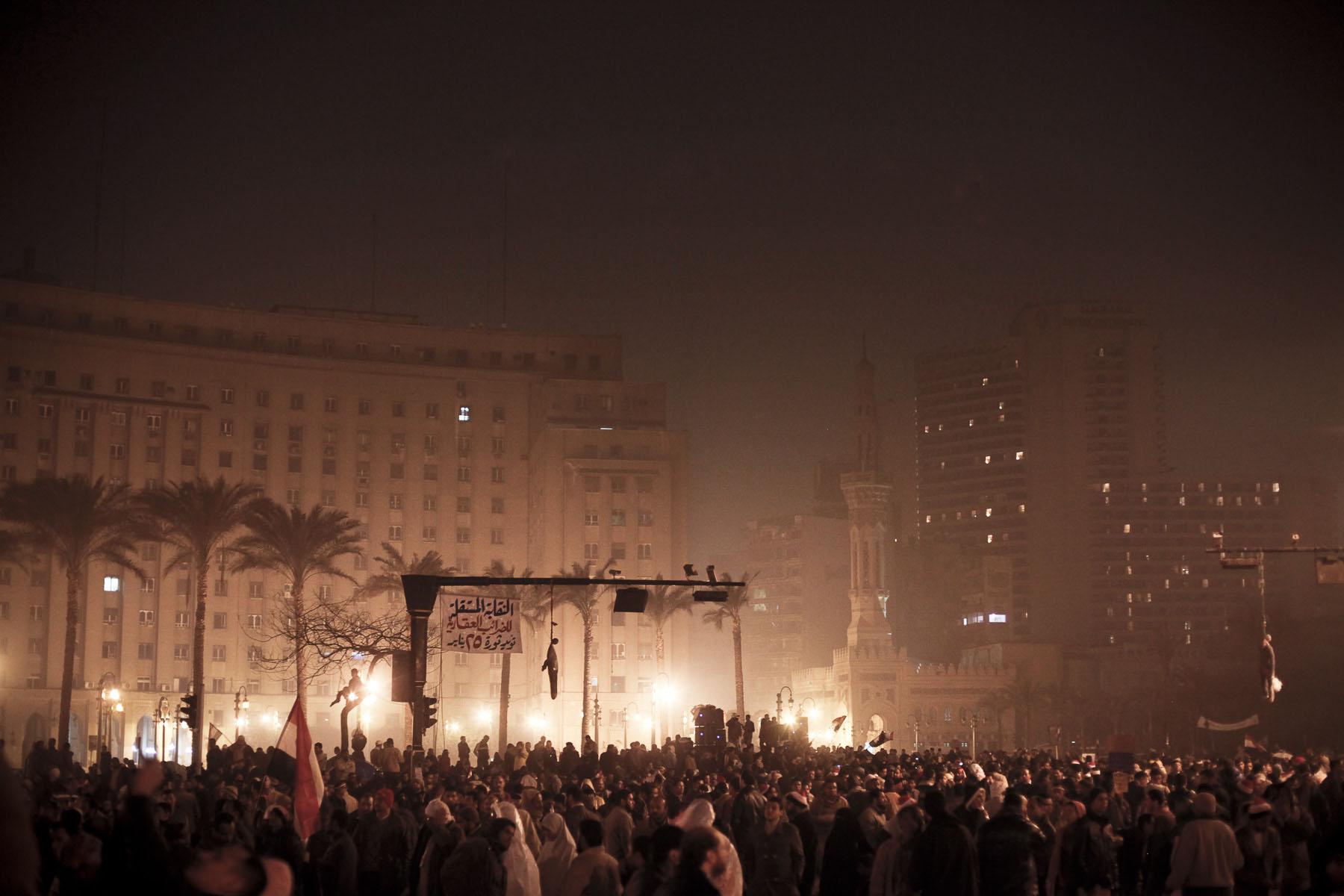 Anti-President Mubarak's demonstrators on Tahrir Square on Saturday February 5 2011