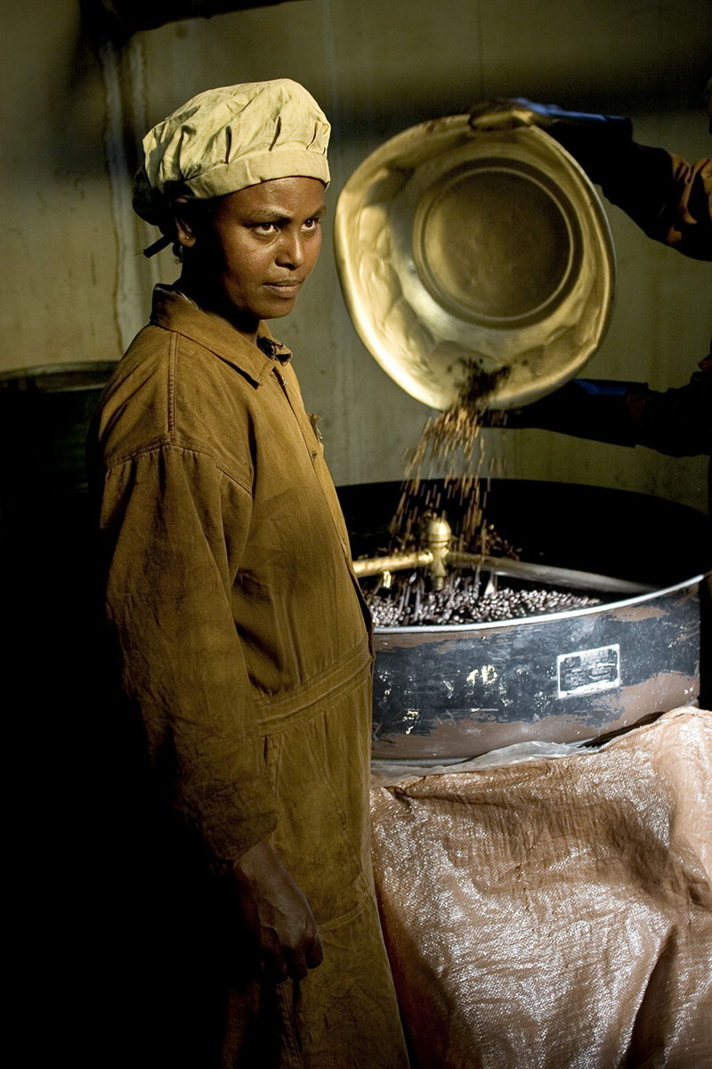 Coffee roasting room at Great Abyssinia Company in November 2004